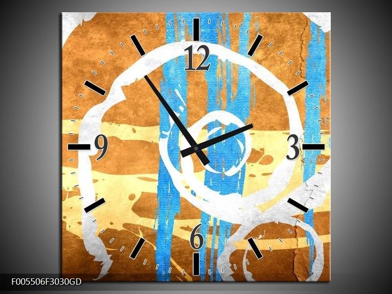 Wandklok op Glas Art | Kleur: Blauw, Oranje, Bruin | F005506CGD