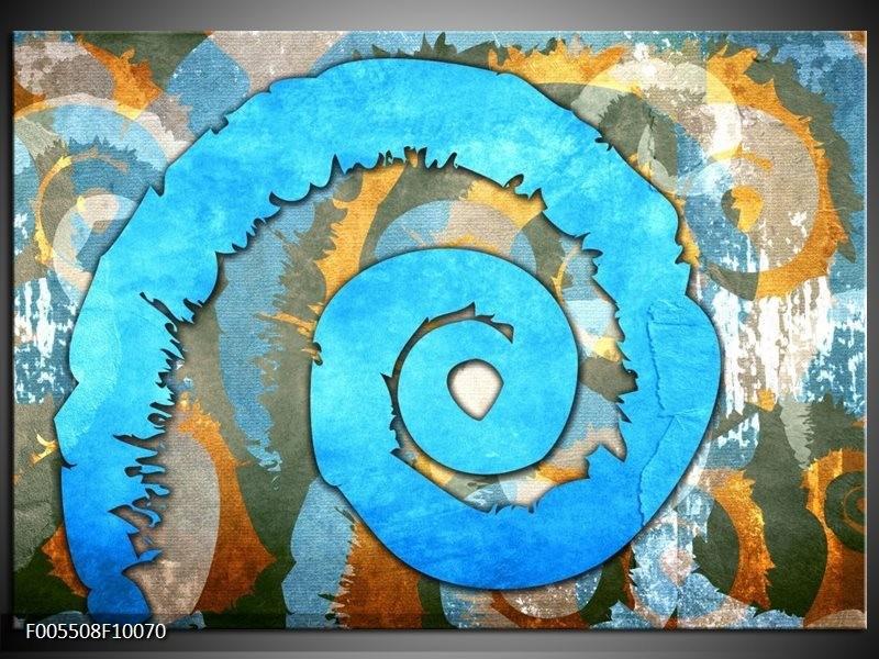 Glas schilderij Art | Blauw, Geel, Wit