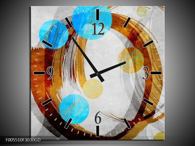 Wandklok op Glas Art | Kleur: Blauw, Bruin, Grijs | F005510CGD