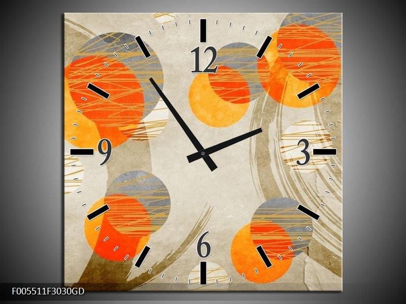 Wandklok op Glas Art | Kleur: Oranje, Grijs, Geel | F005511CGD