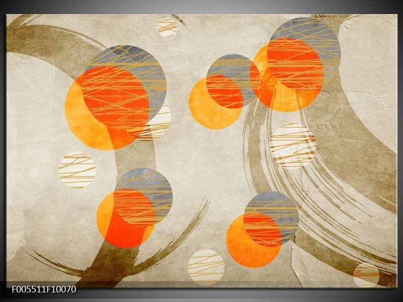 Glas schilderij Art | Oranje, Grijs, Geel