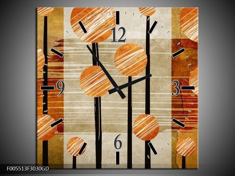 Wandklok op Glas Art | Kleur: Bruin, Grijs | F005513CGD