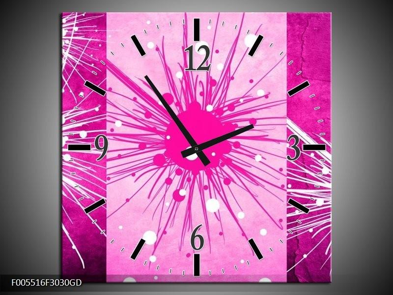 Wandklok op Glas Art | Kleur: Roze, Paars, Wit | F005516CGD