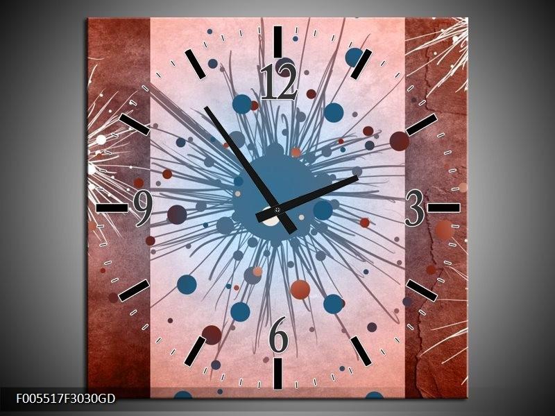 Wandklok op Glas Art | Kleur: Bruin, Wit, Blauw | F005517CGD