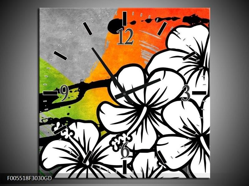 Wandklok op Glas Art   Kleur: Wit, Oranje, Grijs   F005518CGD