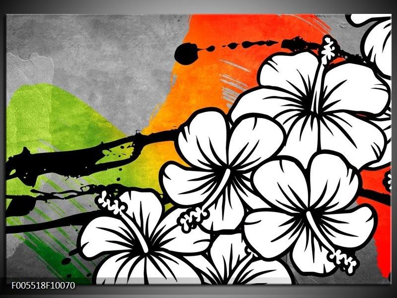 Glas schilderij Art   Wit, Oranje, Grijs