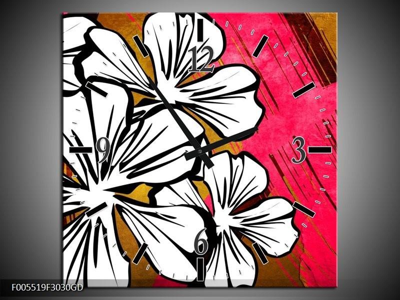 Wandklok op Glas Art | Kleur: Wit, Roze, Bruin | F005519CGD