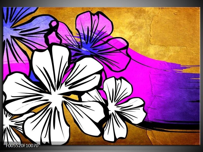 Glas schilderij Art | Bruin, Wit, Paars