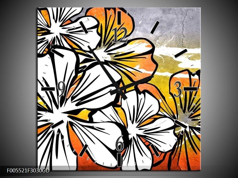 Wandklok op Glas Art | Kleur: Wit, Oranje, Grijs | F005521CGD