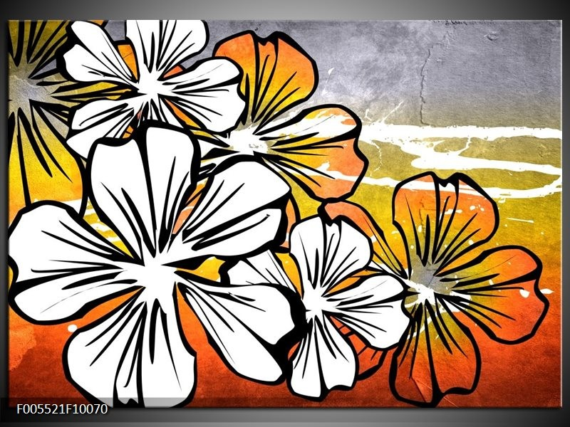 Glas schilderij Art | Wit, Oranje, Grijs