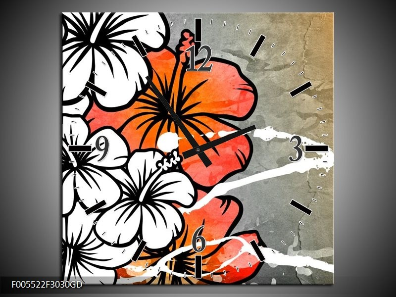 Wandklok op Glas Art | Kleur: Grijs, Oranje, Wit | F005522CGD