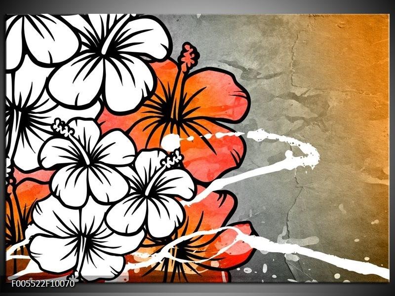 Glas schilderij Art | Grijs, Oranje, Wit