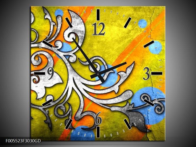 Wandklok op Glas Art   Kleur: Geel, Groen, Blauw   F005523CGD