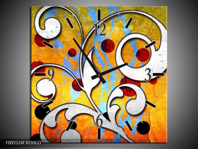 Wandklok op Glas Art   Kleur: Oranje, Wit, Rood   F005524CGD