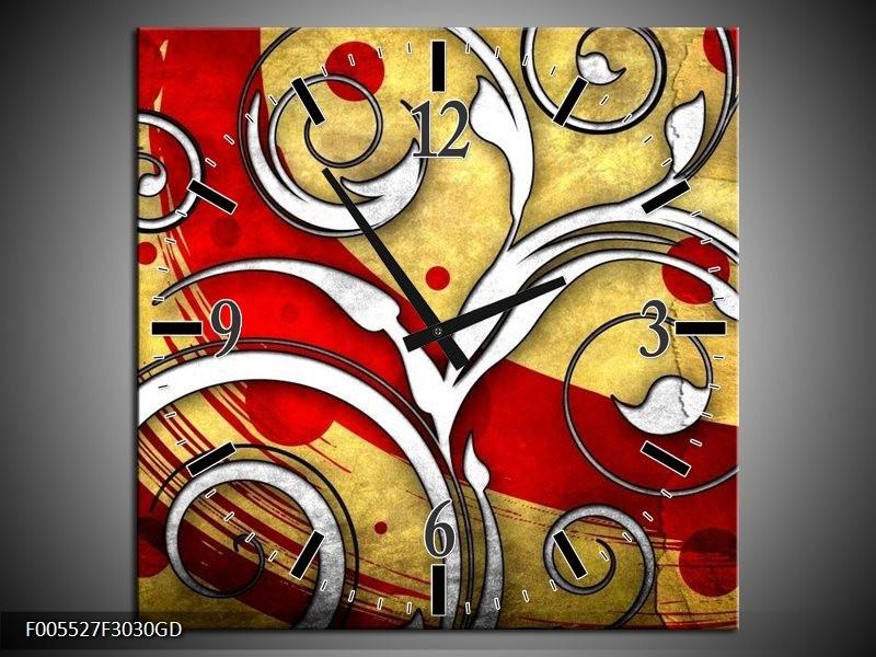 Wandklok op Glas Art | Kleur: Rood, Wit, Geel | F005527CGD