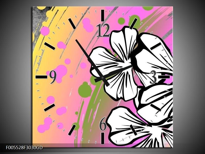 Wandklok op Glas Art | Kleur: Paars, Wit, Geel | F005528CGD