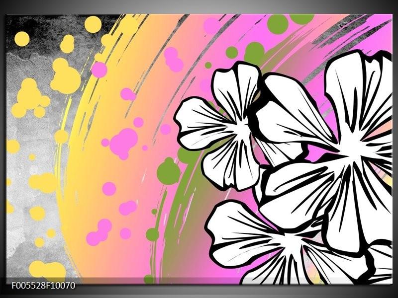 Glas schilderij Art | Paars, Wit, Geel