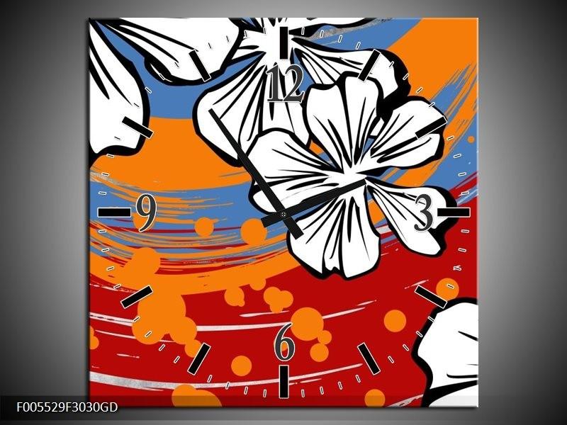 Wandklok op Glas Art | Kleur: Rood, Wit, Oranje | F005529CGD