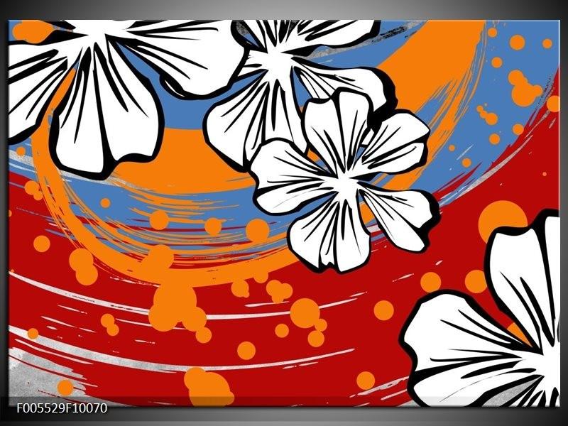 Glas schilderij Art | Rood, Wit, Oranje