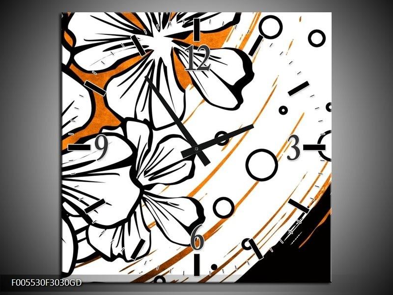 Wandklok op Glas Art | Kleur: Wit, Oranje, Zwart | F005530CGD