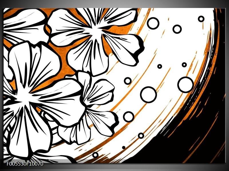 Glas schilderij Art | Wit, Oranje, Zwart