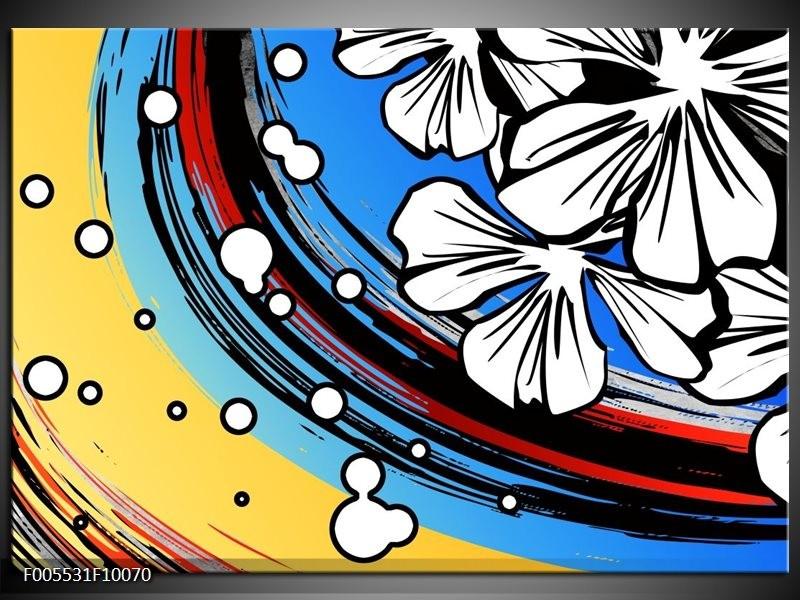Glas schilderij Art | Blauw, Wit, Zwart