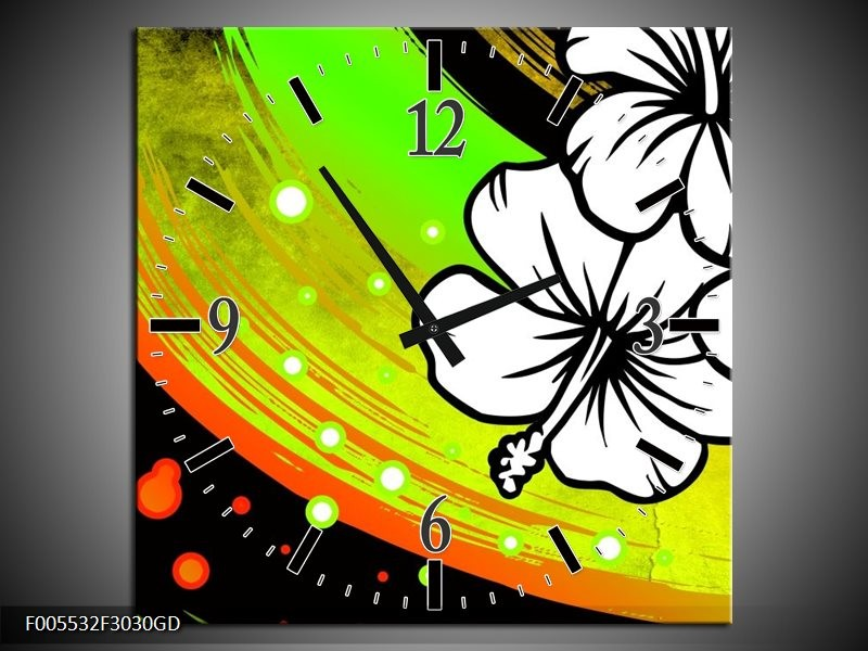 Wandklok op Glas Art | Kleur: Groen, Zwart, Wit | F005532CGD