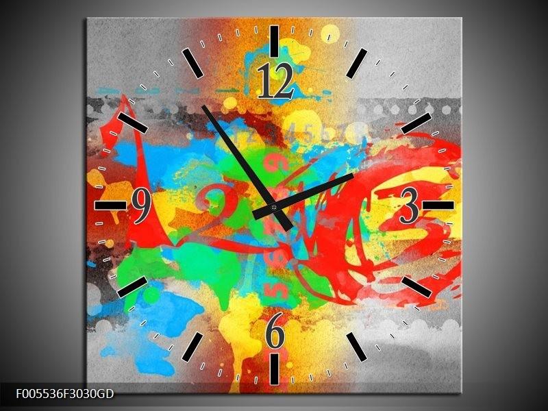 Wandklok op Glas Art | Kleur: Blauw, Grijs, Groen | F005536CGD