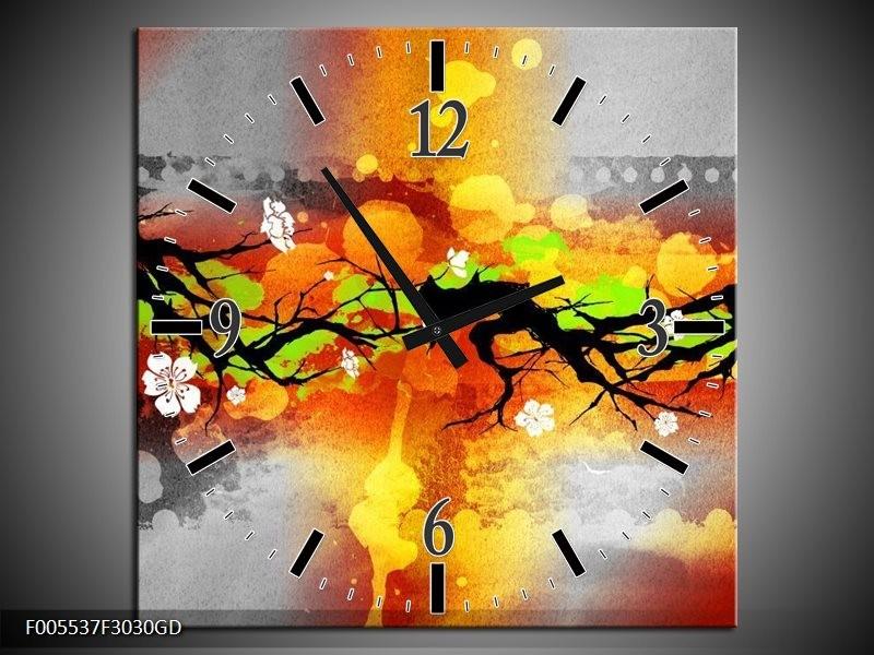 Wandklok op Glas Art | Kleur: Oranje, Zwart, Geel | F005537CGD