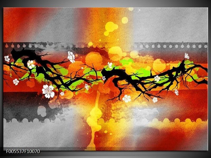 Glas schilderij Art | Oranje, Zwart, Geel