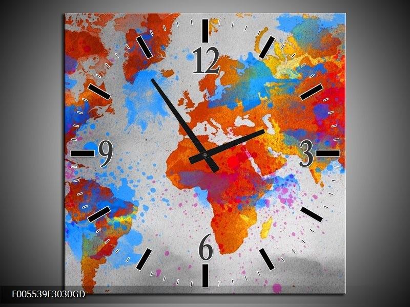 Wandklok op Glas Wereld | Kleur: Grijs, Rood, Blauw | F005539CGD