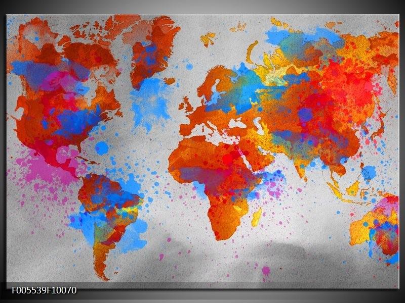 Glas schilderij Wereld   Grijs, Rood, Blauw
