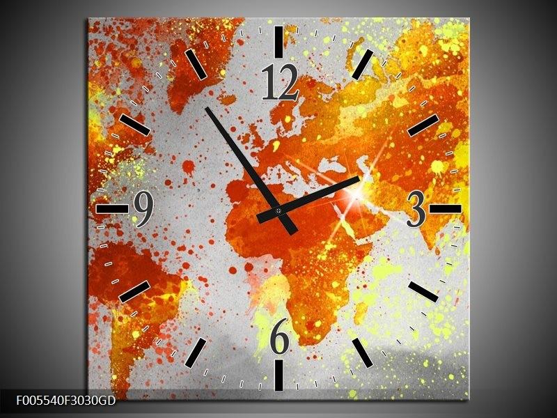 Wandklok op Glas Wereld | Kleur: Grijs, Oranje, Geel | F005540CGD
