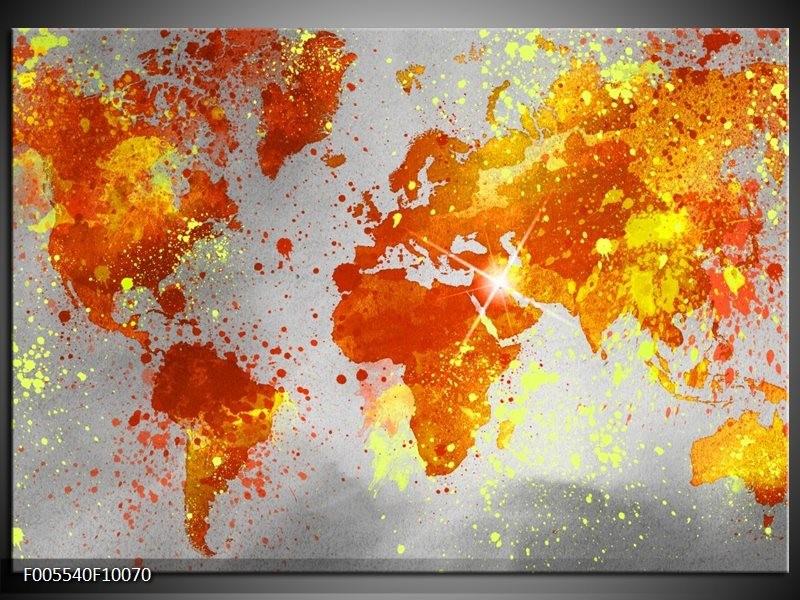 Glas schilderij Wereld | Grijs, Oranje, Geel