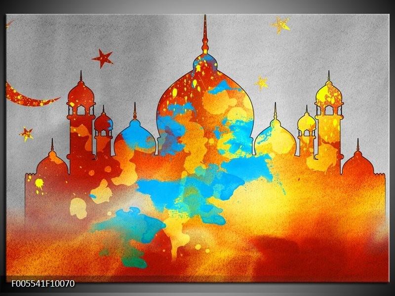 Glas schilderij Gebouw | Grijs, Oranje, Blauw
