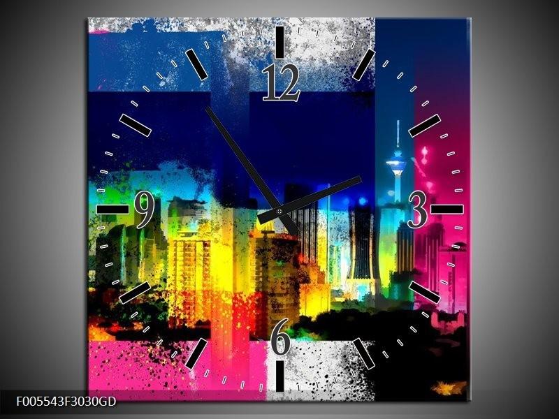Wandklok op Glas Gebouw | Kleur: Geel, Blauw, Roze | F005543CGD
