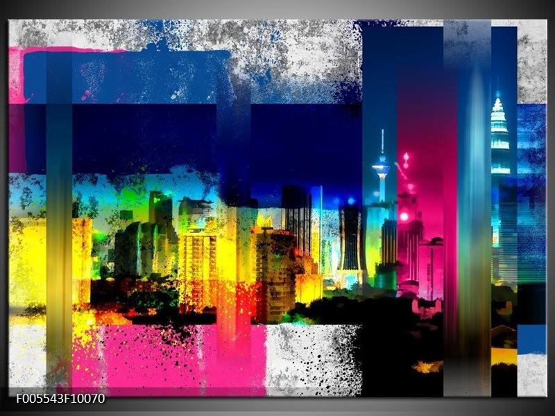 Glas schilderij Gebouw | Geel, Blauw, Roze