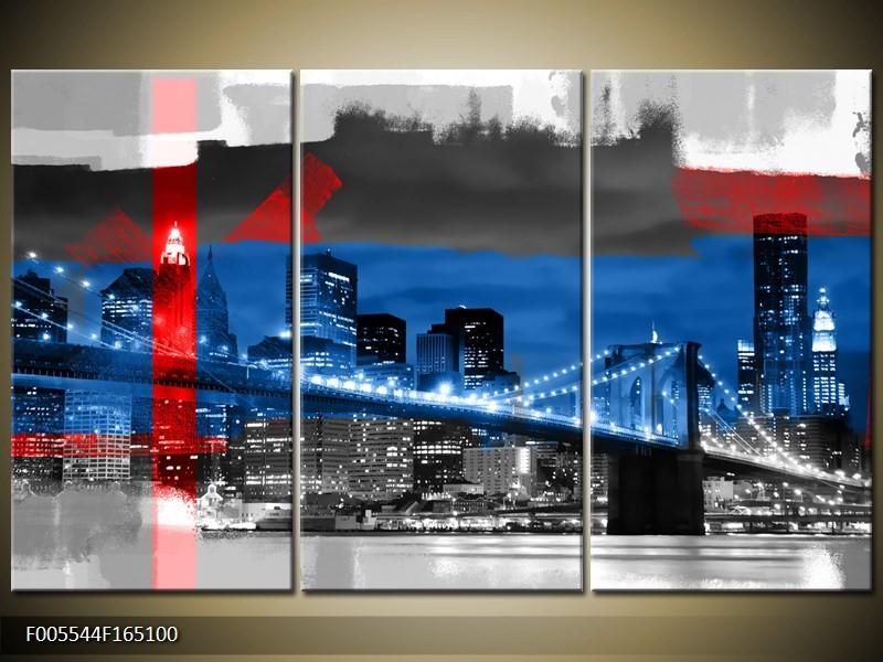 Canvas schilderij Brug | Blauw, Grijs, Rood | 165x100cm 3Luik