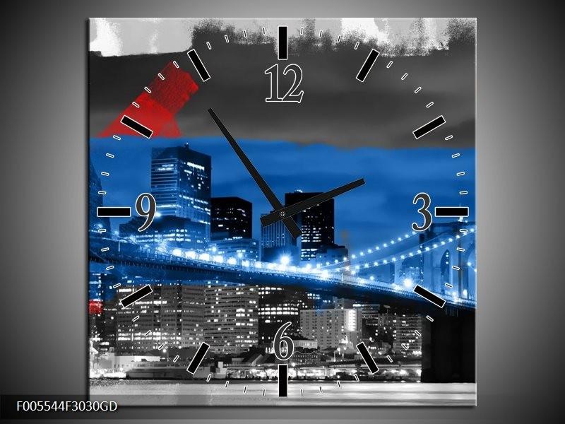 Wandklok op Glas Brug   Kleur: Blauw, Grijs, Rood   F005544CGD