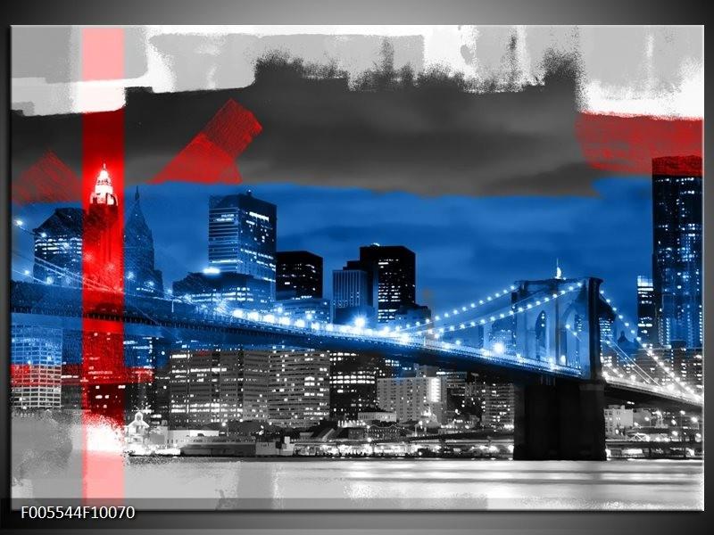 Glas schilderij Brug   Blauw, Grijs, Rood