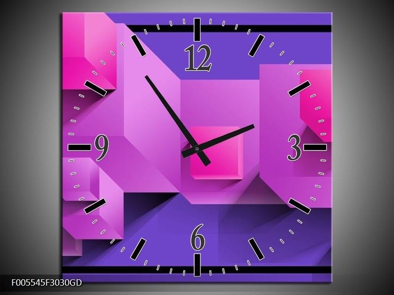 Wandklok op Glas Vierkant | Kleur: Paars, Blauw, Roze | F005545CGD