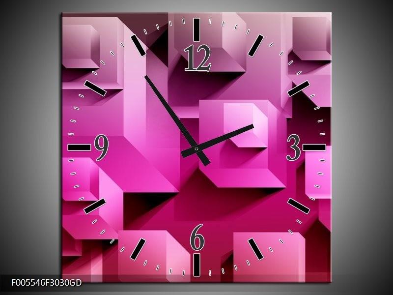 Wandklok op Glas Vierkant | Kleur: Paars, Wit, Roze | F005546CGD