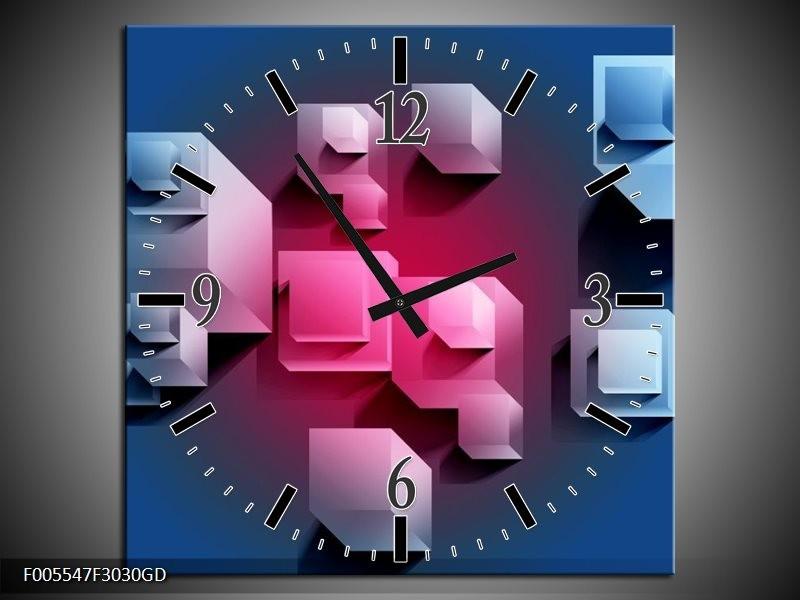 Wandklok op Glas Vierkant | Kleur: Blauw, Roze, Wit | F005547CGD