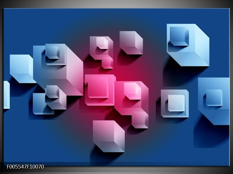 Glas schilderij Vierkant | Blauw, Roze, Wit