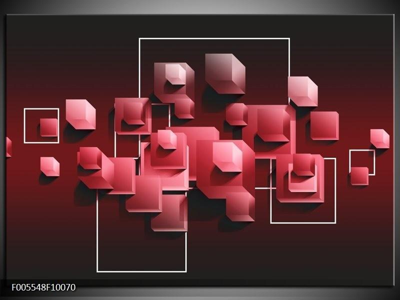 Glas schilderij Vierkant | Rood, Wit