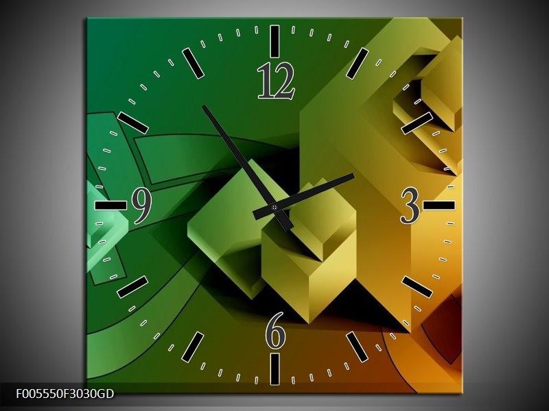 Wandklok op Glas Vierkant | Kleur: Geel, Bruin, Groen | F005550CGD