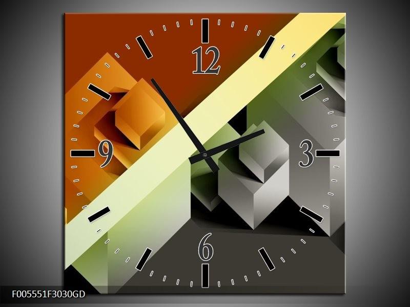 Wandklok op Glas Vierkant | Kleur: Bruin, Grijs, Geel | F005551CGD
