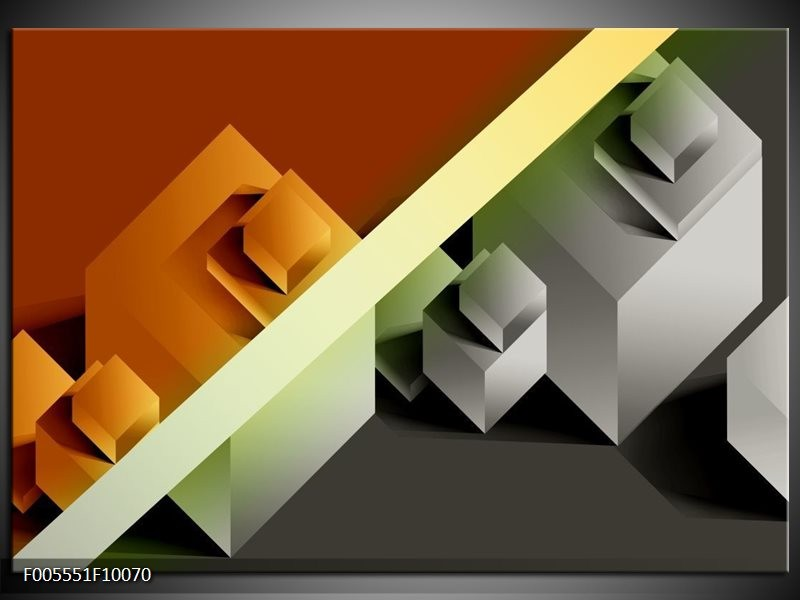 Glas schilderij Vierkant | Bruin, Grijs, Geel