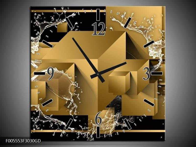 Wandklok op Glas Art | Kleur: Bruin, Goud, Zwart | F005553CGD