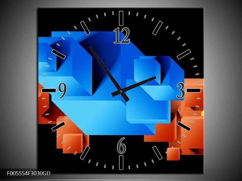 Wandklok op Glas Art | Kleur: Blauw, Oranje, Zwart | F005554CGD